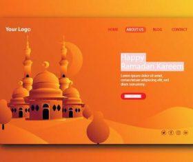 Orange gradient login website page design vector