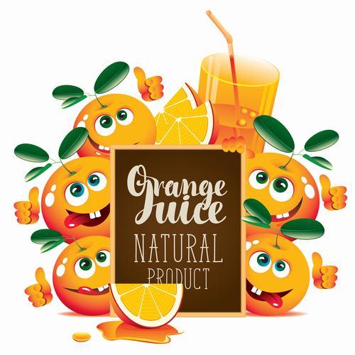 Orange juice with text in blackboard vector