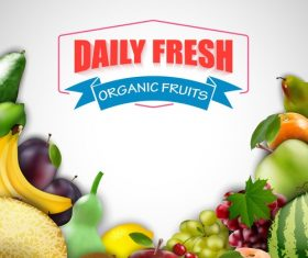 Organic fresh fruits vector