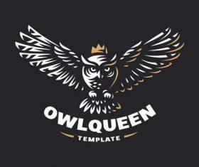 Owl queen logo design vector