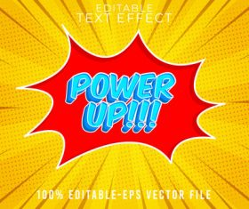 POWER UP with cartoon style vector