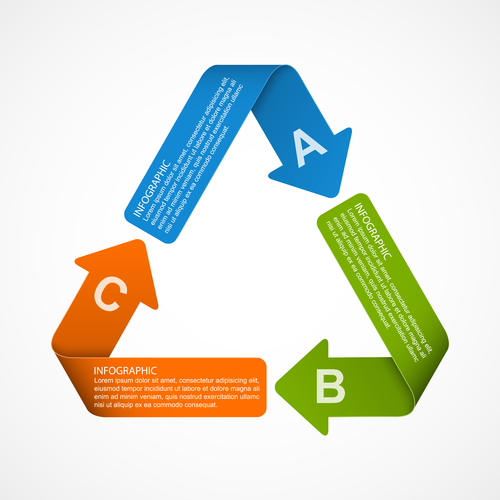 Paper cycle infographic vector