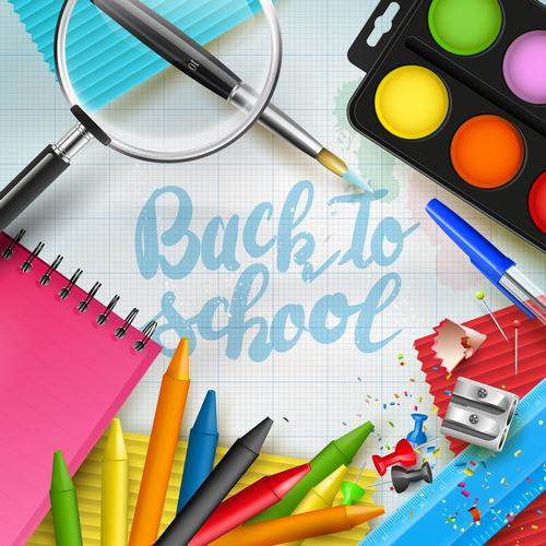 Paper new lettering back to school vector