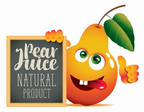 Pear juice with text in blackboard vector