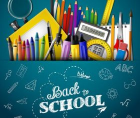 Pencil and back to school posters in vector