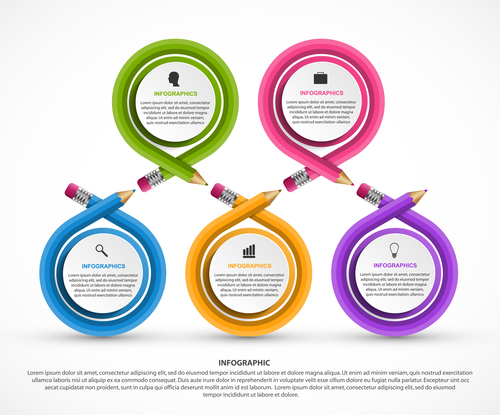 Pencil circle infographic vector