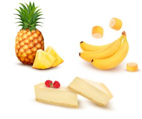 Pineapple banana cheesecake vector
