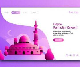 Pink login website page design vector
