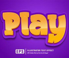 Play editable font effect text vector
