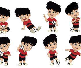 Playing football kids illustration vector
