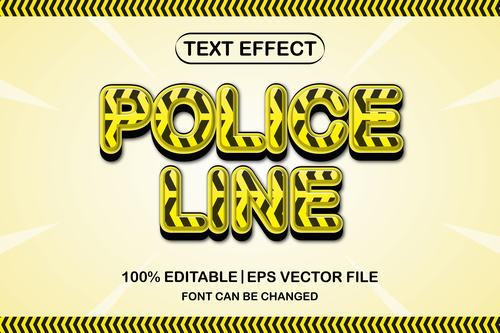 Police line text effect vector