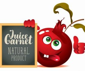 Pomegranate cartoon with text in blackboard vector