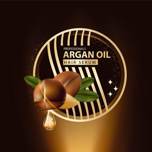 Premium argan oil essence ad template vector