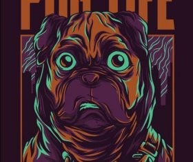 Pug life T-shirt print pattern background vector