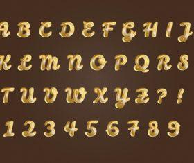 Pure golden alphabets numbers set vector