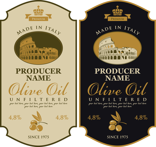 Pure olive oil banner label vector