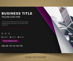 Purple and black business card design vector