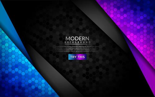Purple and blue gradient modern dark background vector