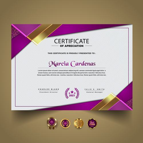 Purple and gold border decoration certificate vector