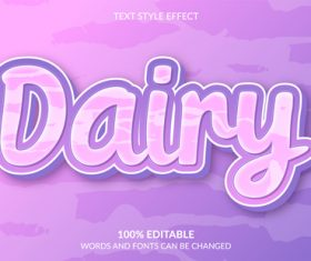 Purple dairy text style effect vector