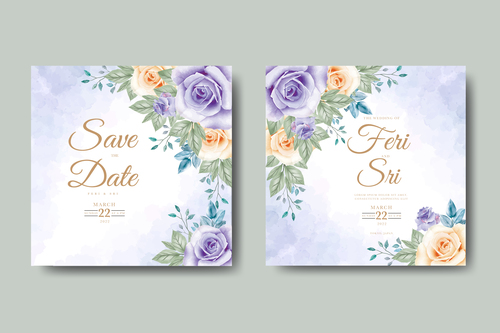 Purple flower background wedding card vector