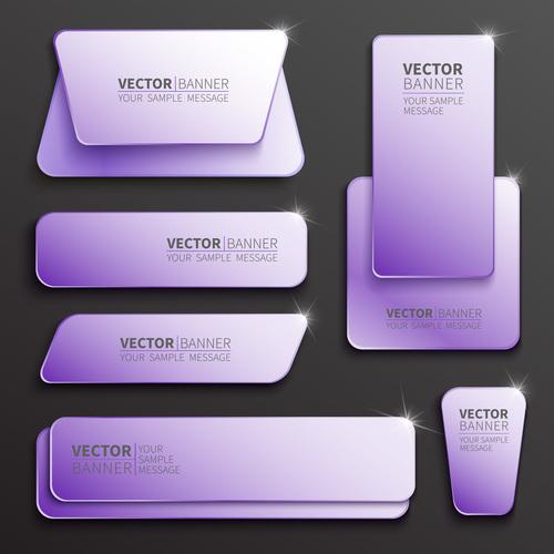Purple shiny banner vector