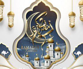 Ramadan kareem poster with vector arabic glossy crescent