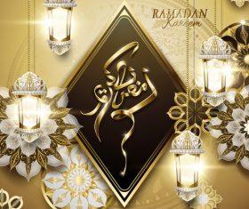 Ramadan kareem with beautiful fanoos vector