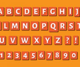 Rectangle embossed alphabets numbers set vector
