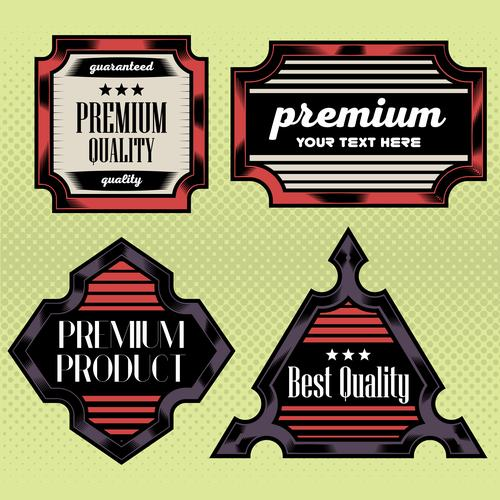 Red black business label vector