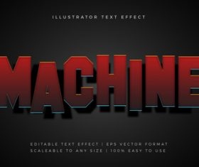 Red machine shadow text font effect vector