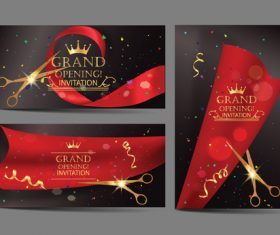 Red ribbon cutting card vector
