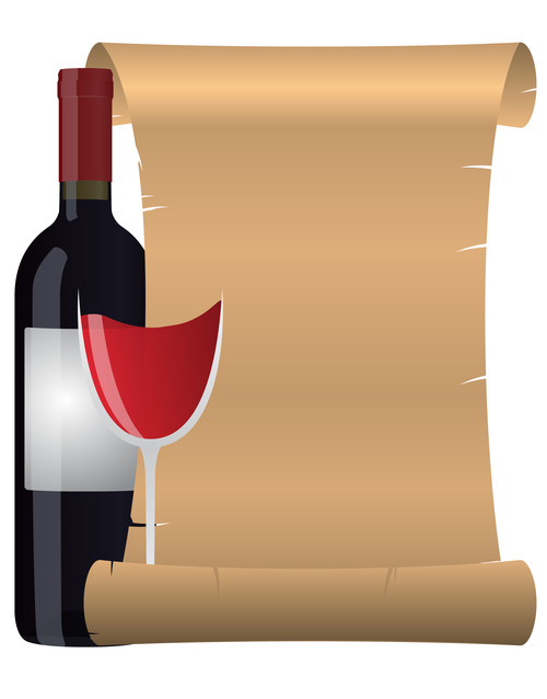 Red wine and blank menu design vector