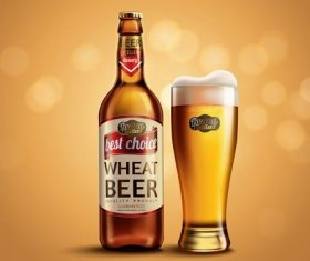 Refreshing wheat beer ad vector