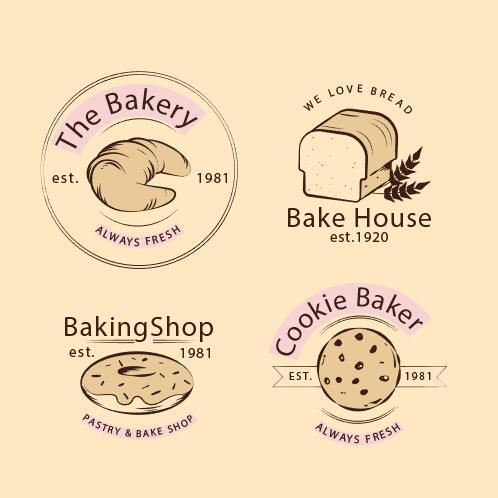 Retro design bakery logo vector