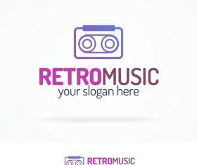 Retro music logo vector