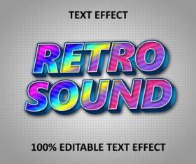 Retro rainbow music editable text effect rainbow vector