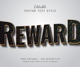 Reward text font style vector