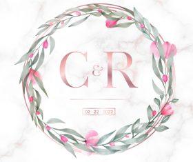 Rose gold round frame wedding invitation card vector
