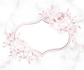 Rose gold vintage frame vector