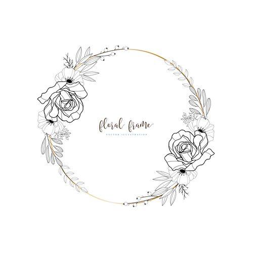Round floral decorative frame hand drawn vector