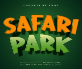 Safari park theme text font effect vector