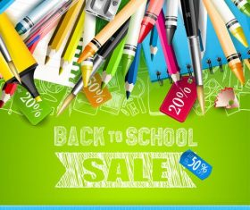 Sale top green back to school vector