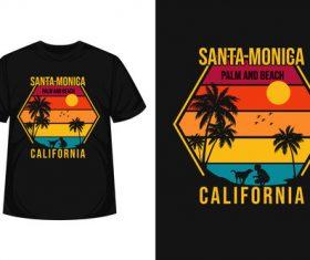 Santa monica palm T shirt design vector