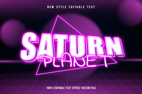 Saturn planet editable text effect modern neon pink style vector