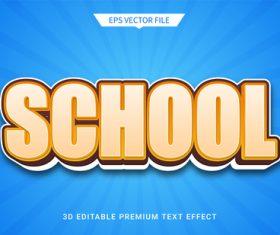 School education 3d editable text style effect vector