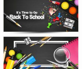 School horizontal banners black vector