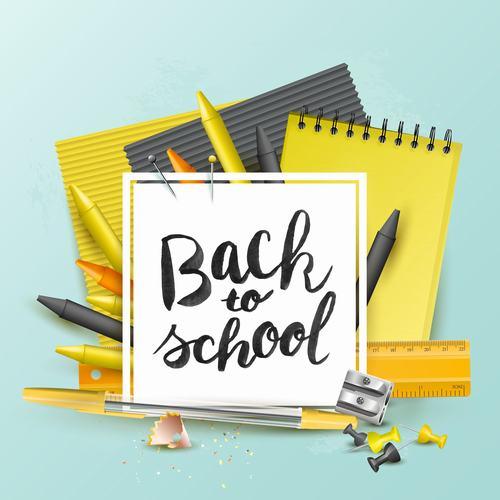 School new accessories orange blue vector