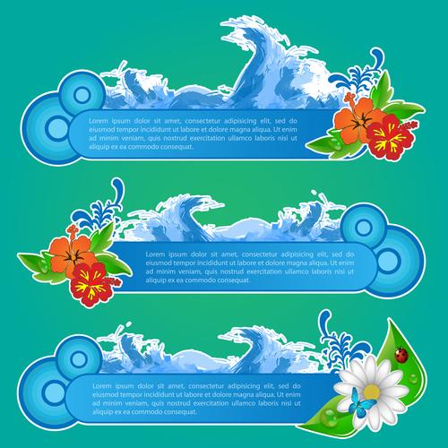 Sea wave creative summer banner vector
