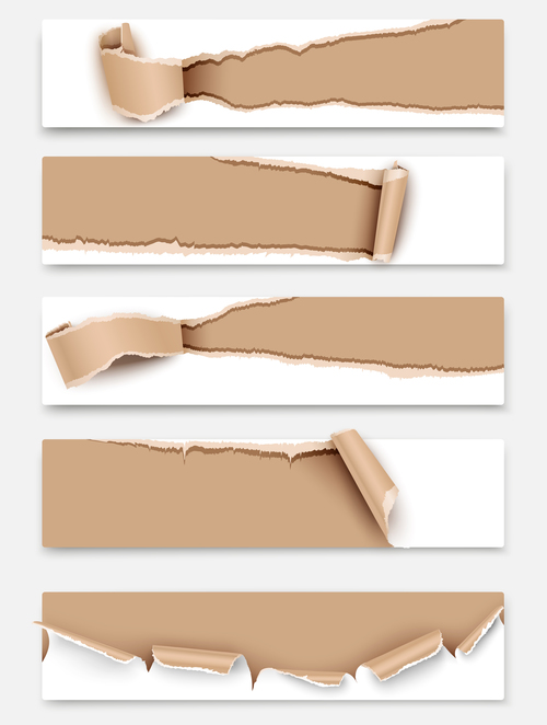 Set of banners torn paper vector background
